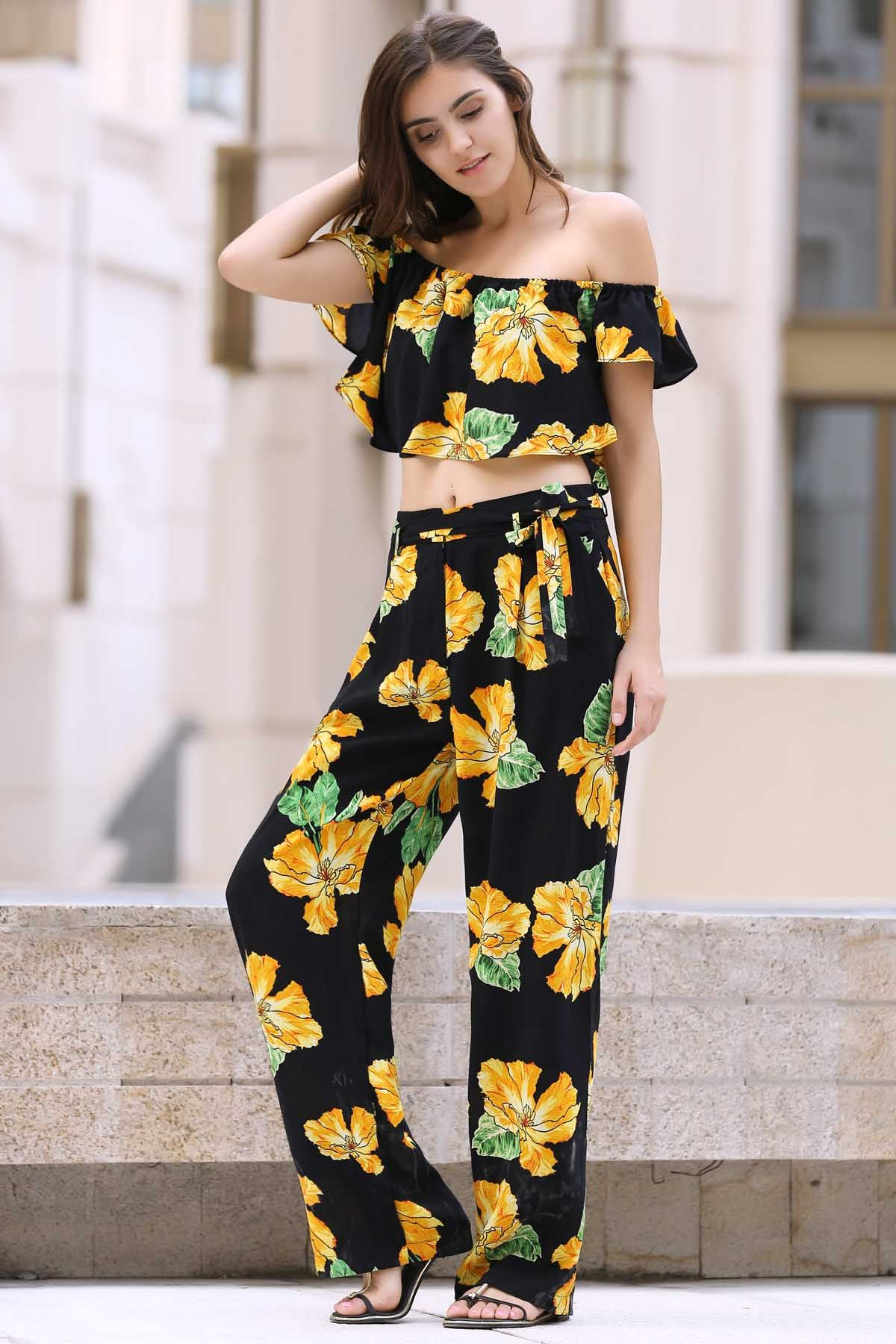 86a35ce6a8d98 Cold Shoulder Ruffle Crop Top And Palazzo Pants Twinset BLACK  Two-Piece  Outfits