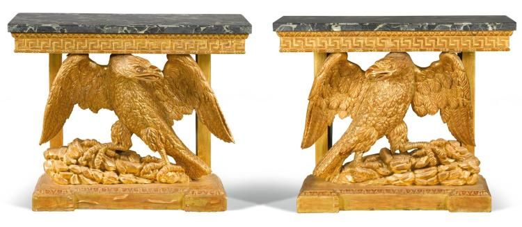 Each With A Veined Marble Top Above An Egg And Dart And Greek Key Carved Frieze With A Central Eagle Support On A Moulded Plinth Base Carving