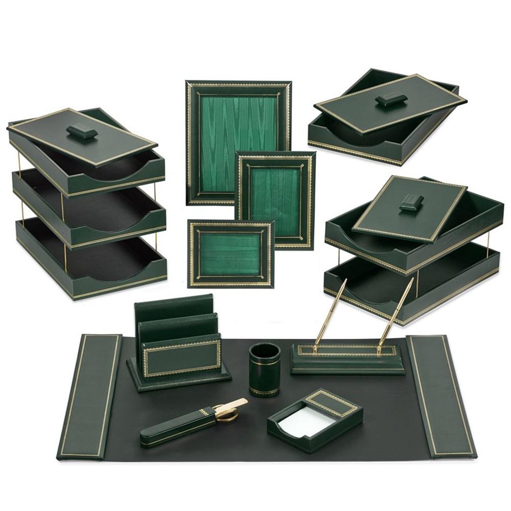 Florentine Leather Desk Set Green Desk Organizer Set Office Accessories Home Decor Scullyandscully Com In 2020 Leather Desk Office Accessories Desk Set