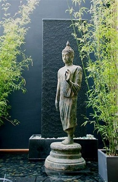 What's new at Living Green  Buddha beautiful fountain pond, standing Buddha statue and bamboo in pots zenGardens is part of Buddha garden -