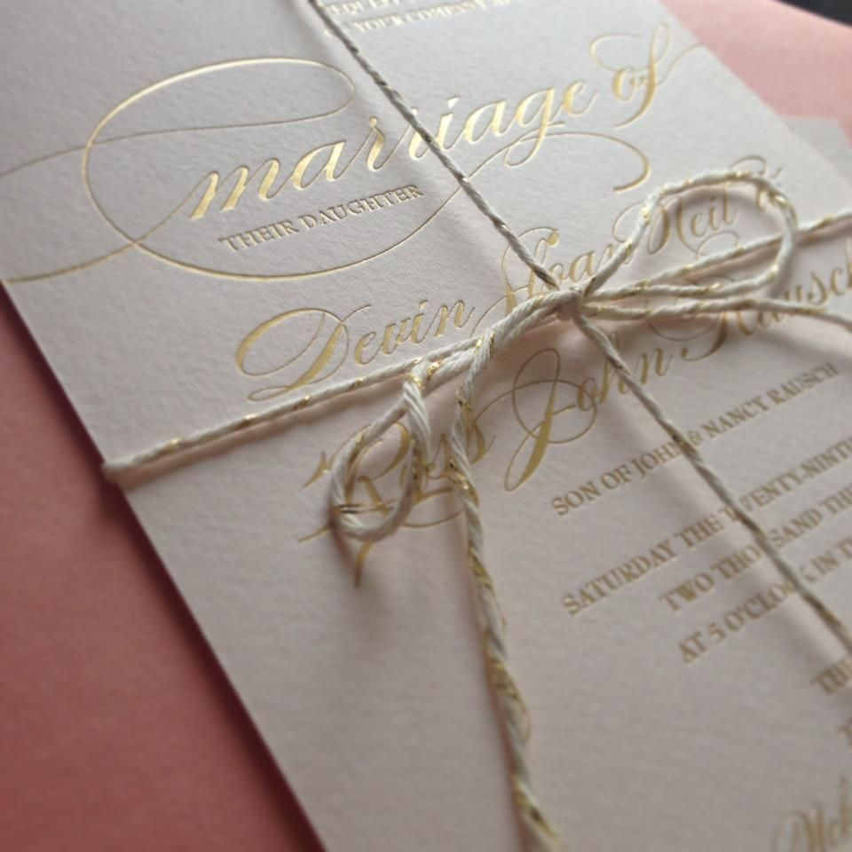 Bakers Twine Wedding Invitation: Wedding Invitations, Gold Foil With Gold & Ivory Cross