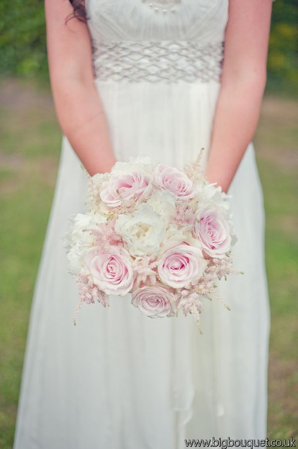 Pink Garden Rose And Hydrangea Bouquet bridal bouquet- white hydrangea, light pink garden roses and white