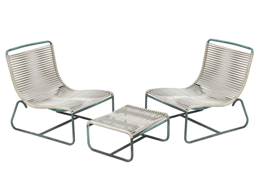Walter Lamb Outdoor/Patio Sled Chairs With Ottoman For Brown Jordan | From  A Unique Collection Of Antique And Modern Lounge Chairs At ...