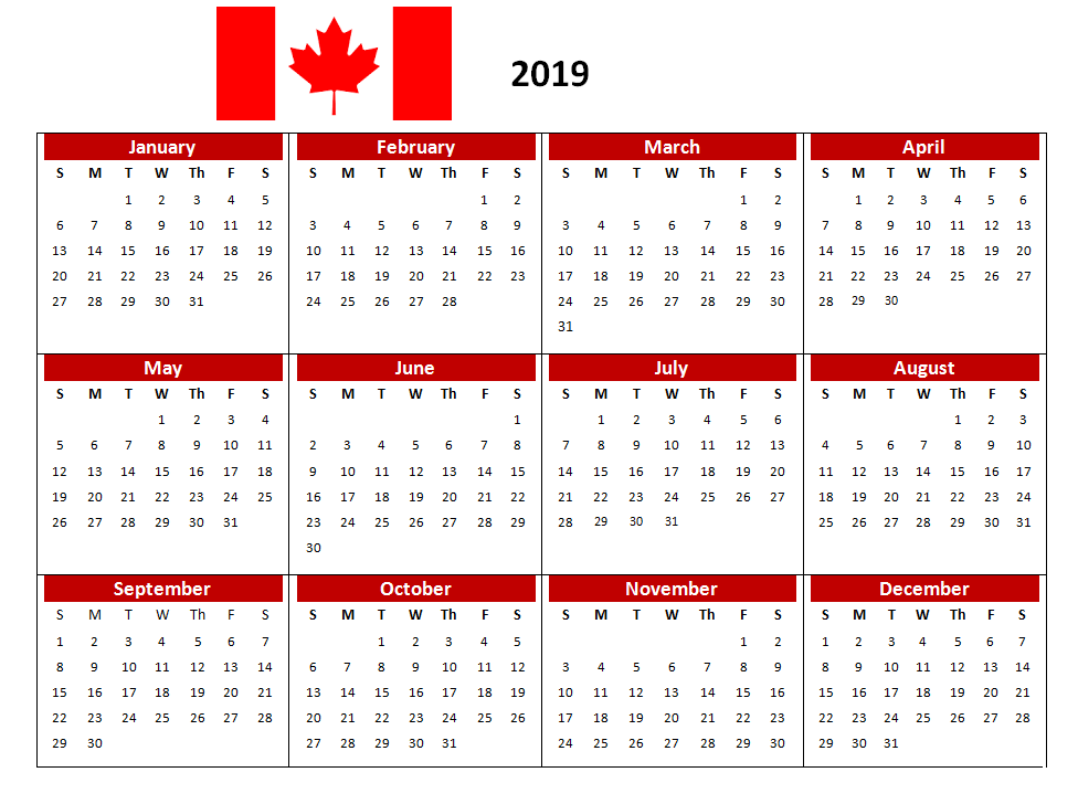 2019 canada pdf calendar printable