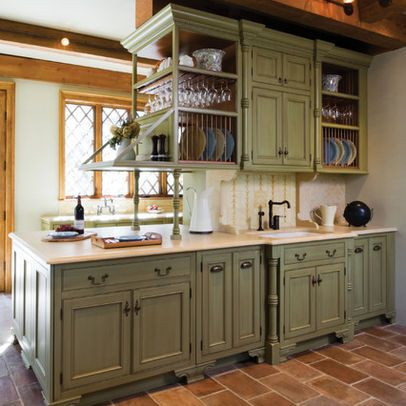 Light Sage Green Cabinets With Brick Floor Distressed Kitchen