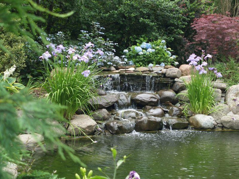 Wasserspiel im Garten mit Brunnen, Bach oder Wasserfall Pinterest