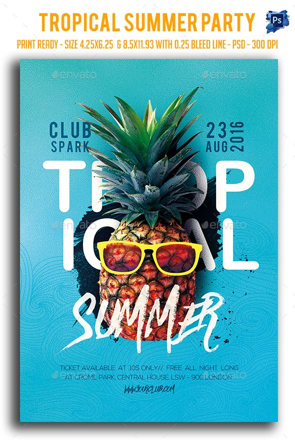 Tropical Summer Party Flyer Party flyer, Flyer template and - summer flyer template