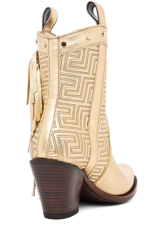 404ef829969 VERSACE Fringe Cowboy Boot in Gold   If the shoe fits . . .   Fringe ...