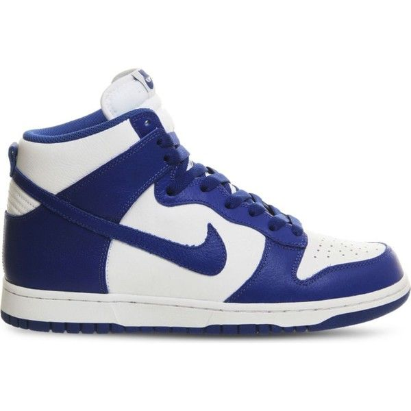 NIKE Dunk high-top leather trainers ($120) ❤ liked on Polyvore featuring  shoes