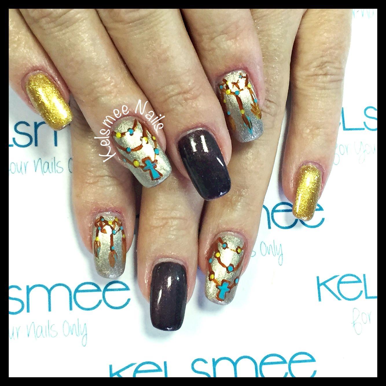 Acrylic nails with maniQ overlay And bohemian nailart | Wicked Nails ...
