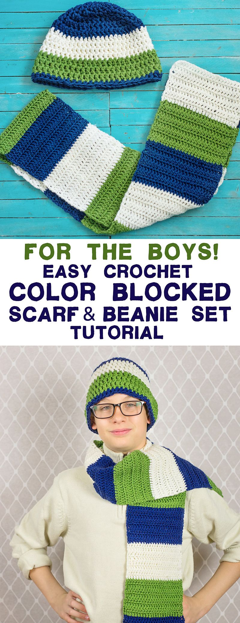This easy crochet color blocked scarf and beanie set is a great this easy crochet color blocked scarf and beanie set is a great crochet project for boys bankloansurffo Image collections