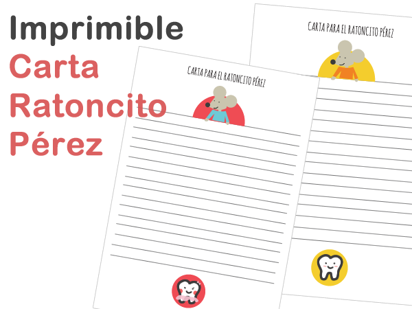 Carta dibujos de dientes y puerta Ratoncito Prez para imprimir