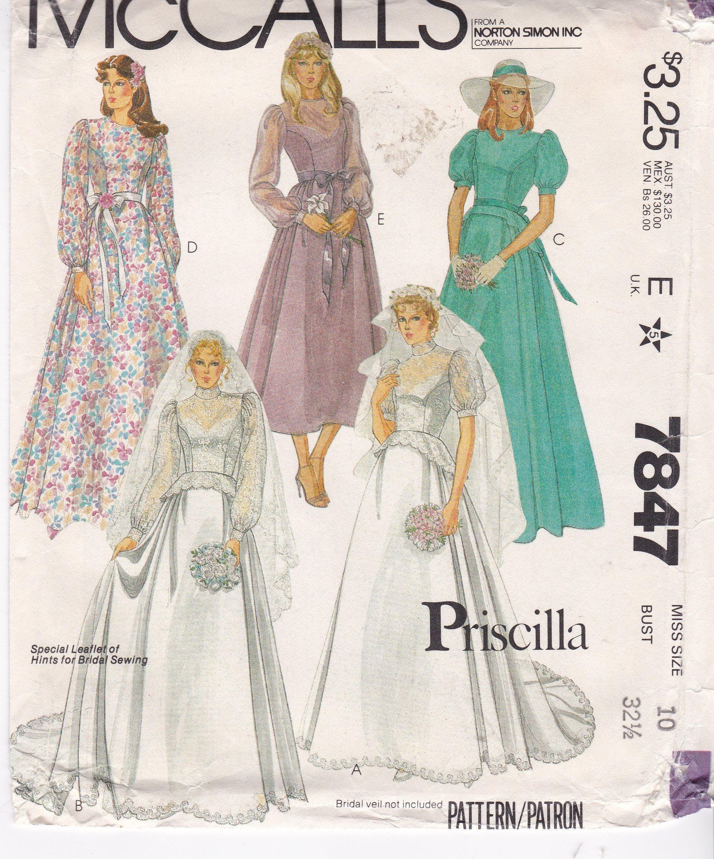 Vintage Wedding Gown Or Floor Length Dress Misses Size 10 Bust 32 5 Princess Seam Puf Patterned Bridesmaid Dresses Sewing Wedding Dress Bridal Sewing Patterns [ 2340 x 1944 Pixel ]