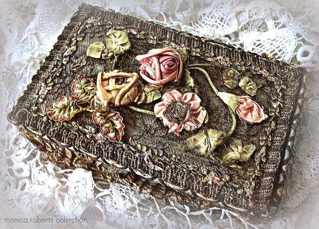 French Metallic Lace And Ribbonwork Vanity Jewelry Box