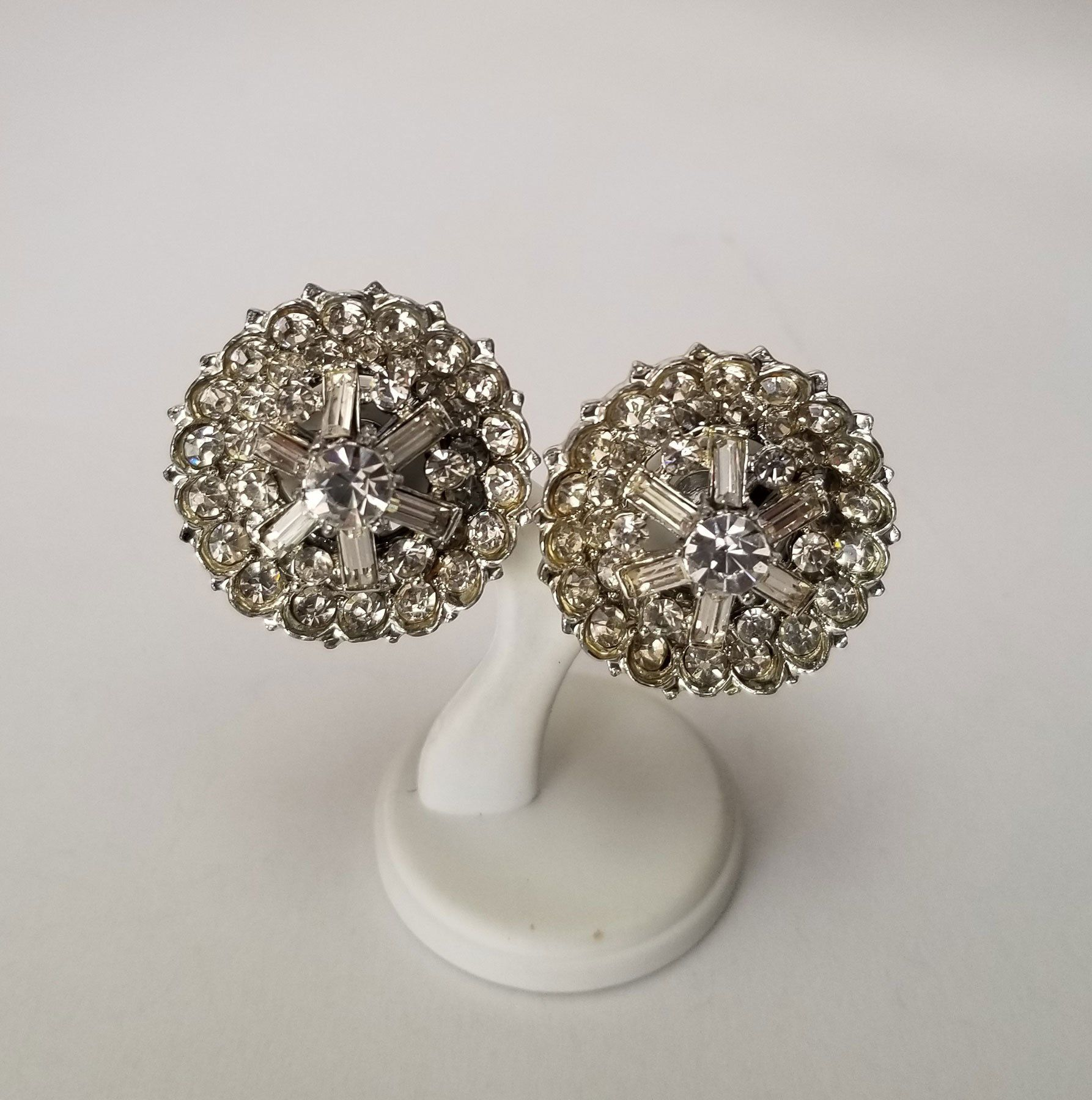 Coro Round Rhinestone Clip Earrings, Vintage Domed large