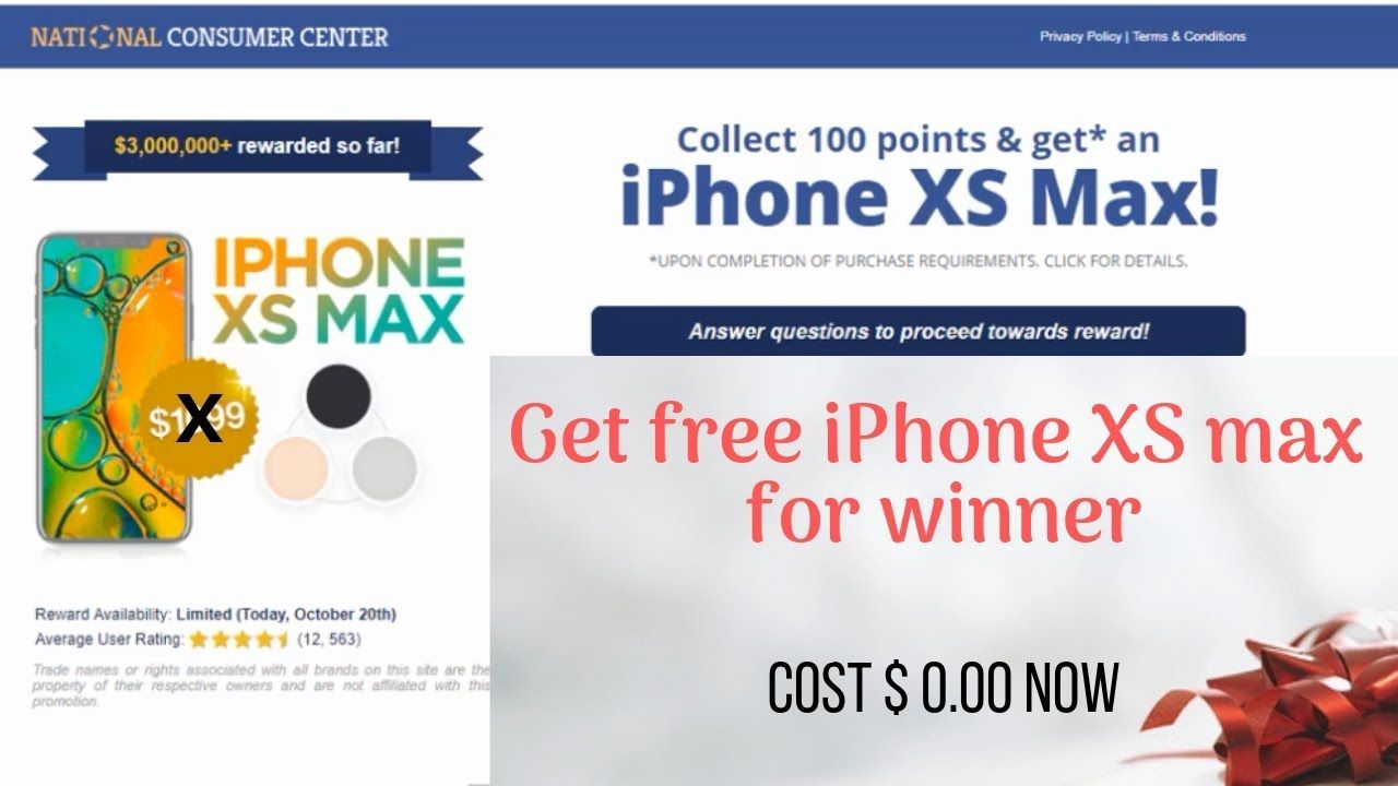 Get free iPhone xs max giveaway No human verification