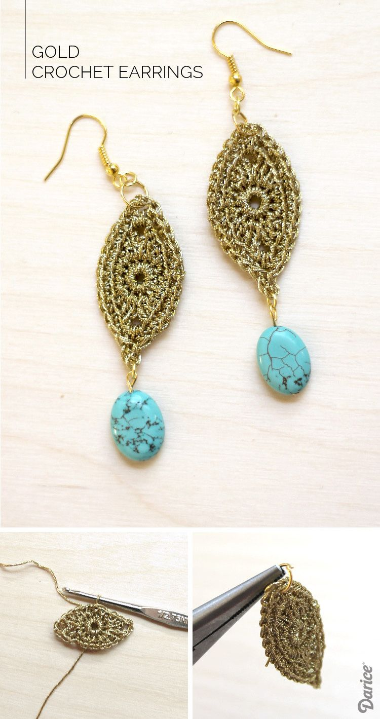 Crochet Earrings Pattern & Tutorial - Darice | Metallic gold ...