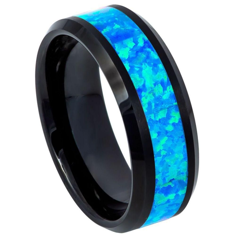 8mm tungsten wedding band blue and black ring blue