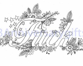 Sweary Coloring Pages Lot Of 5 Swear Words Printable