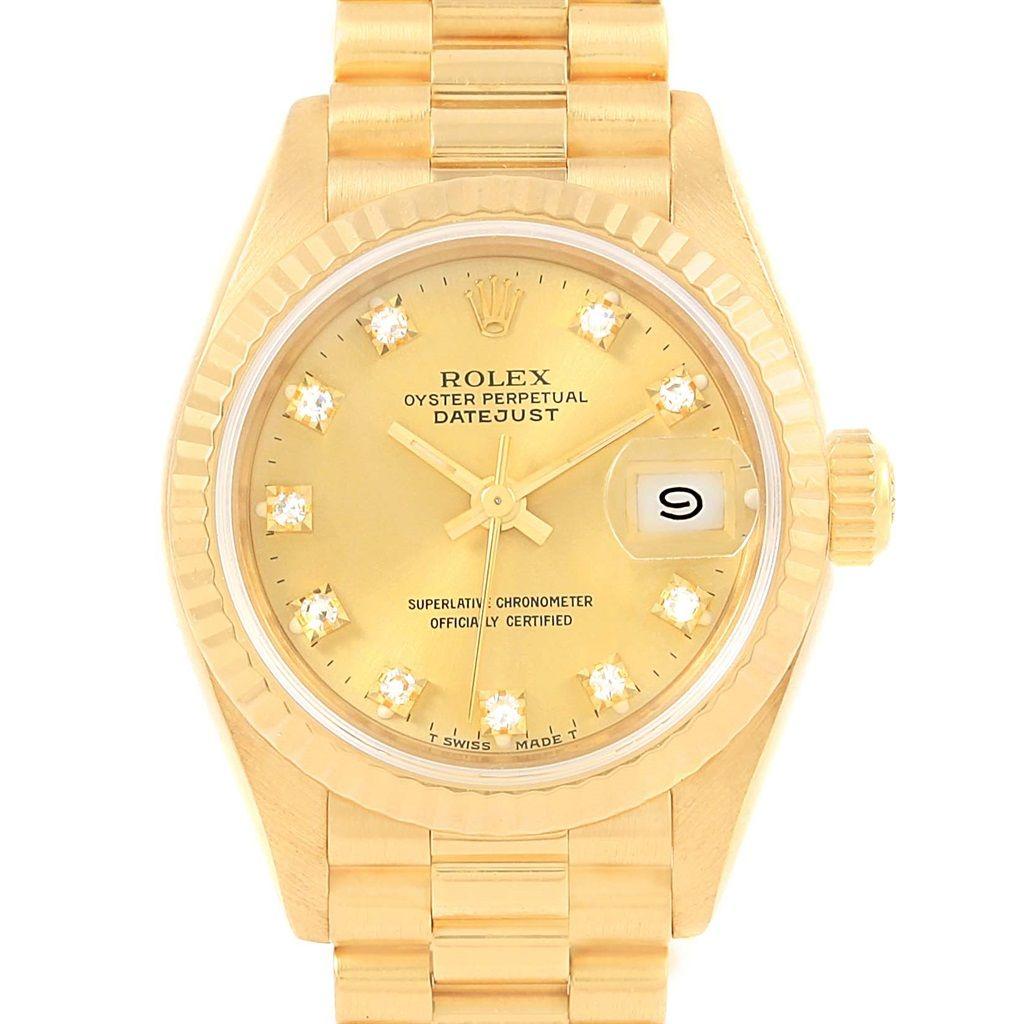 rolex president datejust yellow gold diamond ladies watch