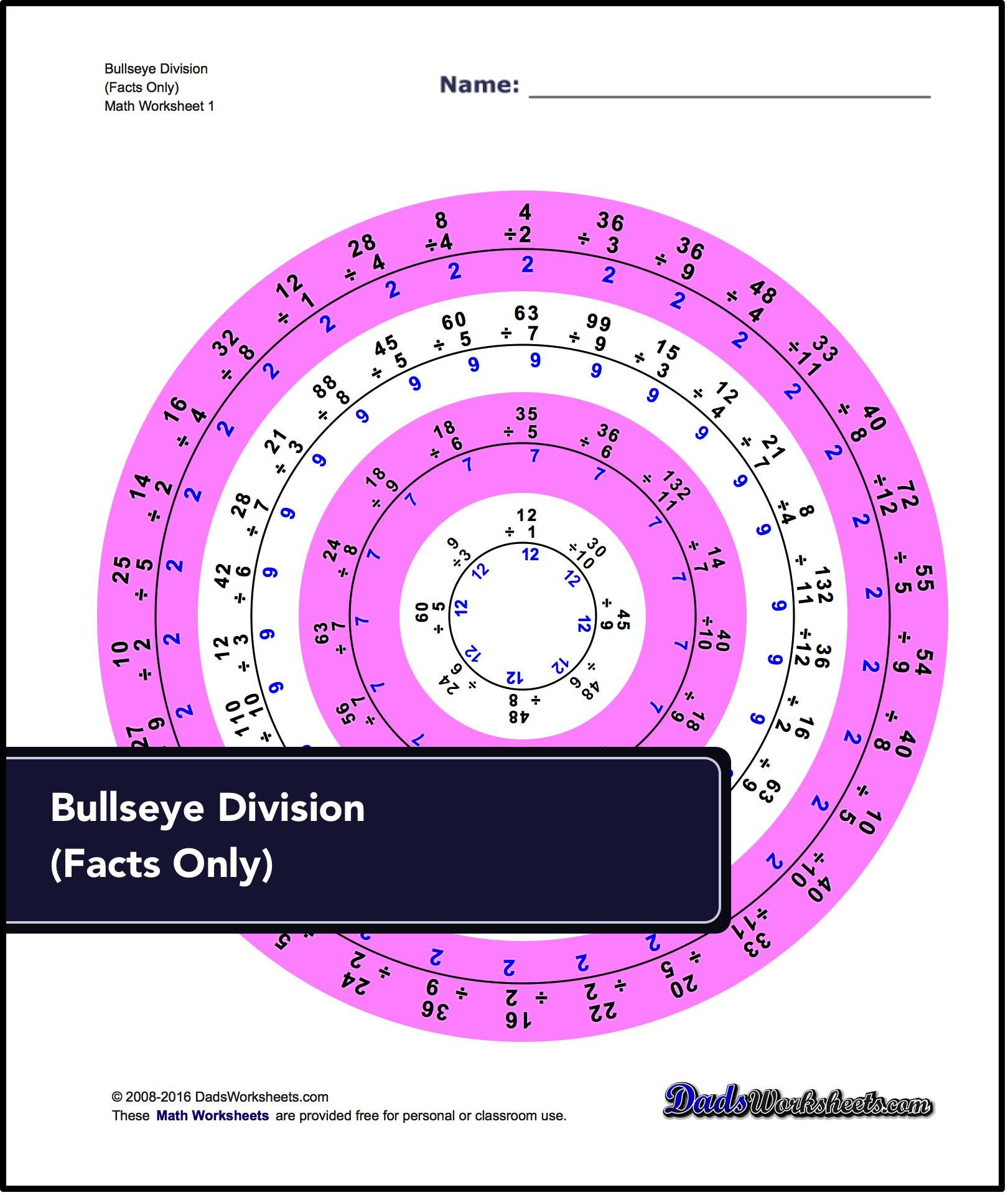 Division Worksheets For Bullseye Division Facts Only