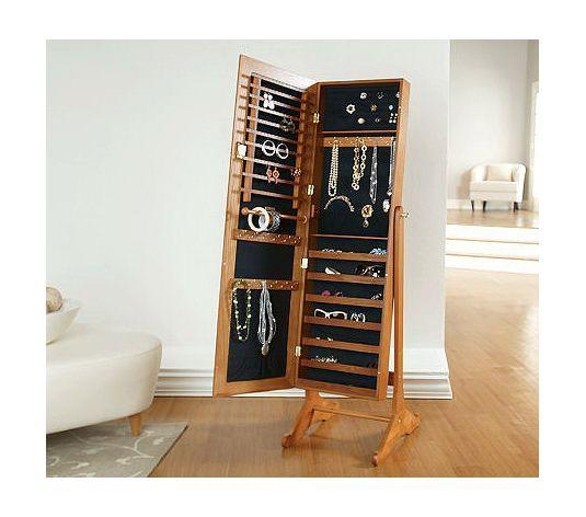 Jewelry Storage Mirror, Gold Silver Safekeeper Mirrored Jewelry Cabinet By Lori Greiner