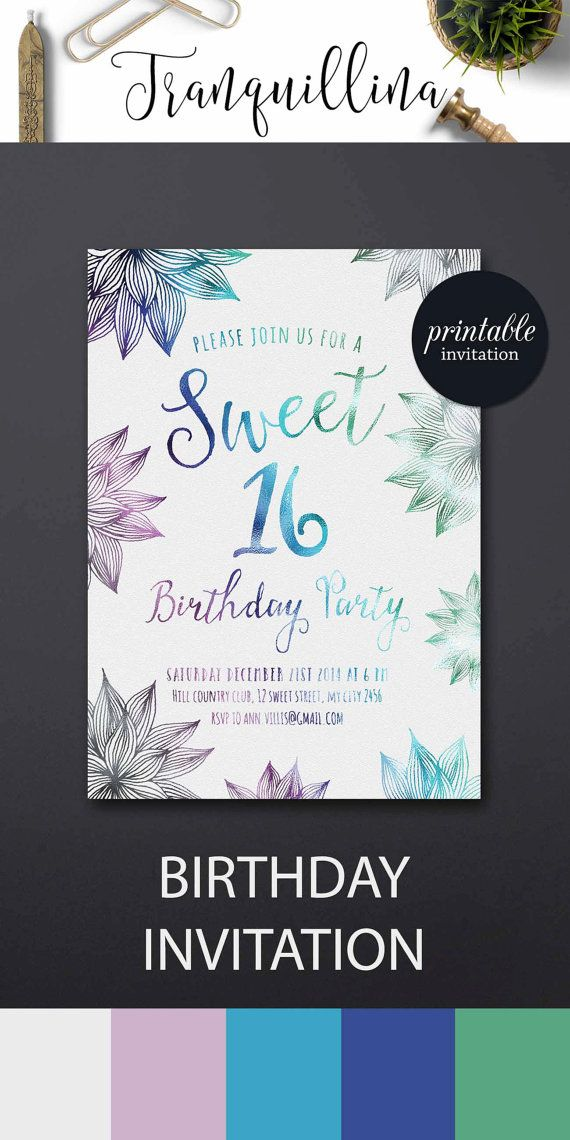 Sweet 16 Invitation Printable, Watercolor Floral Birthday Invitation ...