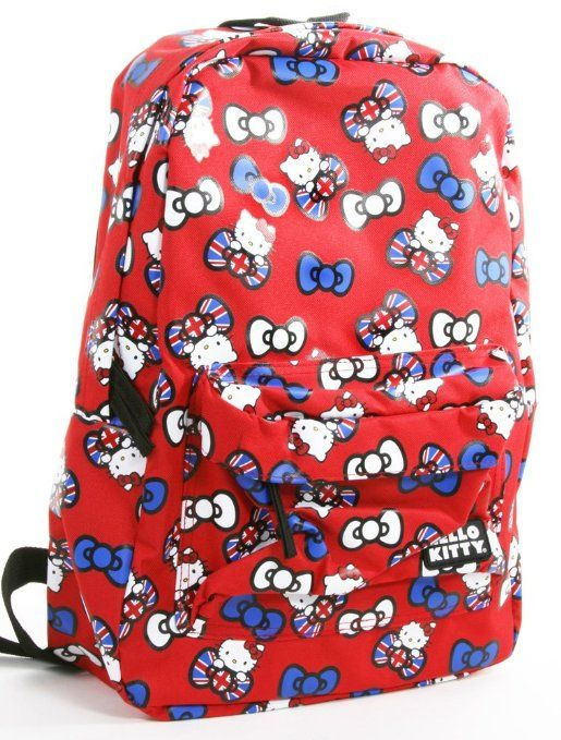 O Kitty Union Jack Bow All Over Red Backpack Book Bag Clothing