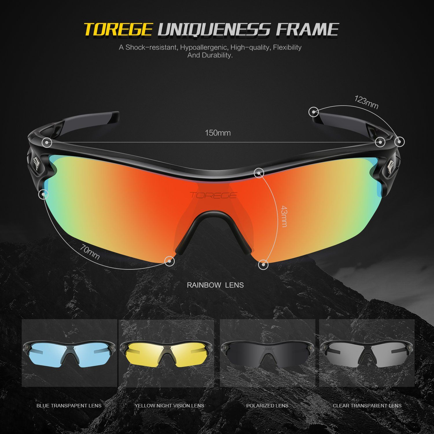 9f708422e11 TOREGE Polarized Sports Sunglasses With 5 Interchangeable Lenes for Men  Women Cycling Running Driving Fishing Golf