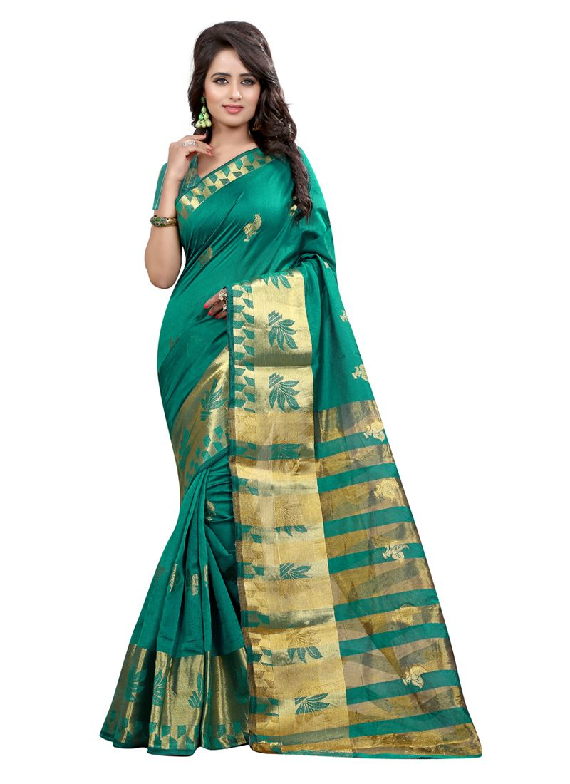 9ac1f5c6d8fce4 Beautiful green colour tussar silk saree   Latest silk saree ...
