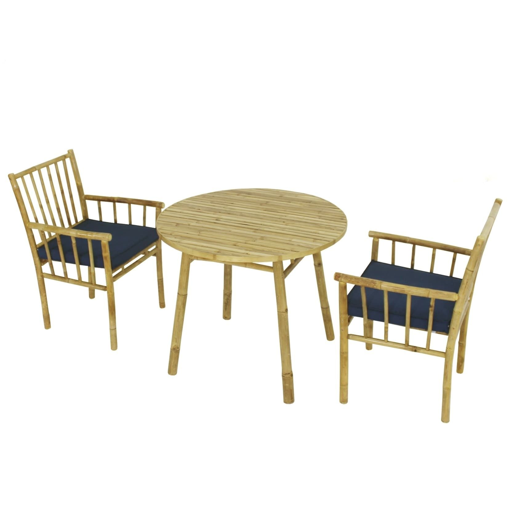 Dining Set Of 2 Armchairs With Cushions And Accent Round Table