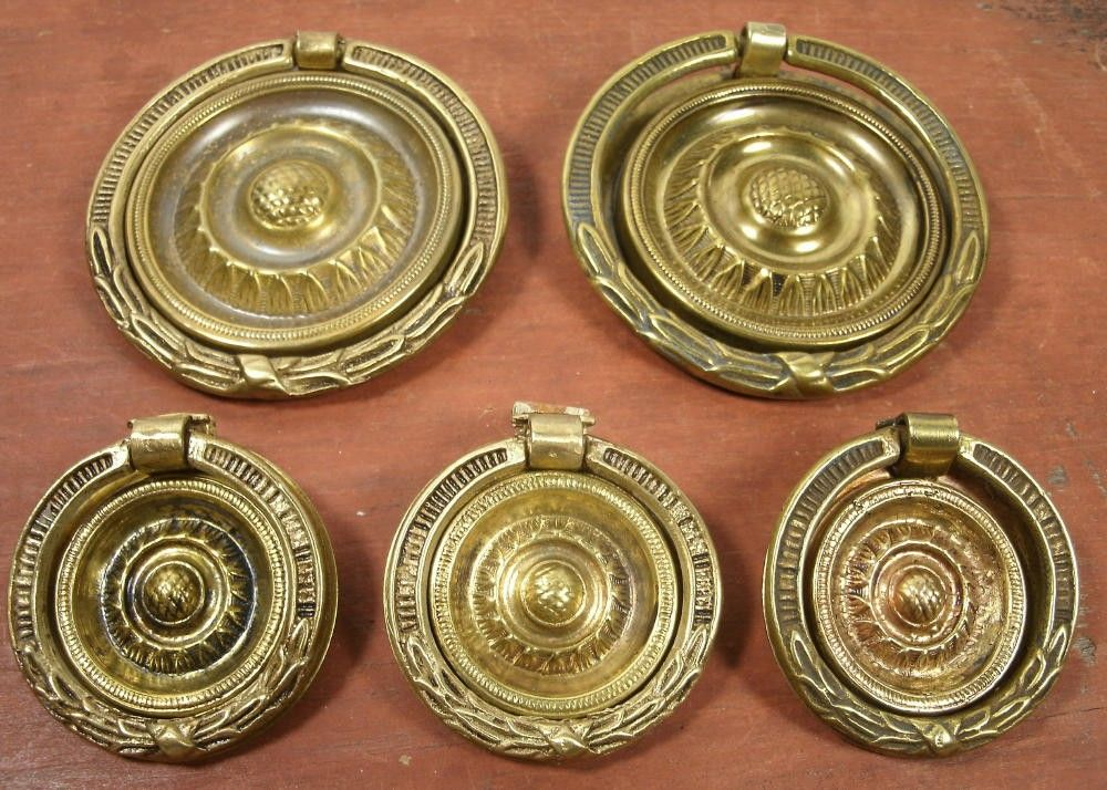 Vintage Antique Set Of 5 Brass Sheriton Hepplewhite Style Round