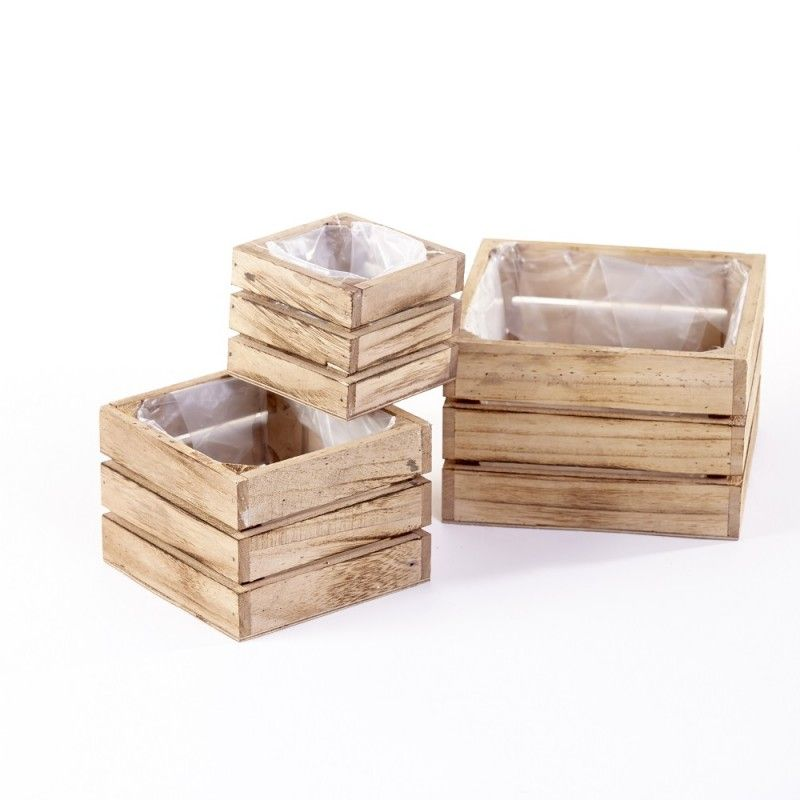 small wooden crates for floral designs featuring plastic lining - Small Wooden Crates
