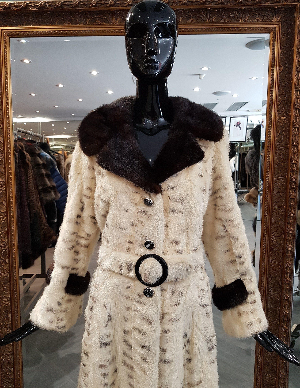 09c7c3267b325 Vintage Mink Fur Coat 70s Spy Trench Funky Retro Black & White Belted Womens  Size 8 Medium M by TheFunkyFurrier on Etsy