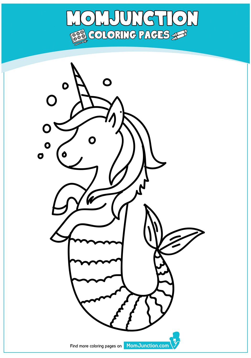 Mermaid And Her Fish Mermaid Coloring Pages Unicorn Coloring