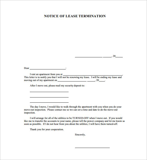 notice cancellation letter for lease termination contract - lease termination agreement