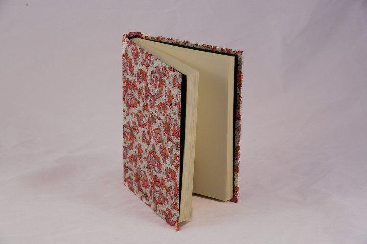 Journal, handwrapped in Florentine pattern - blue
