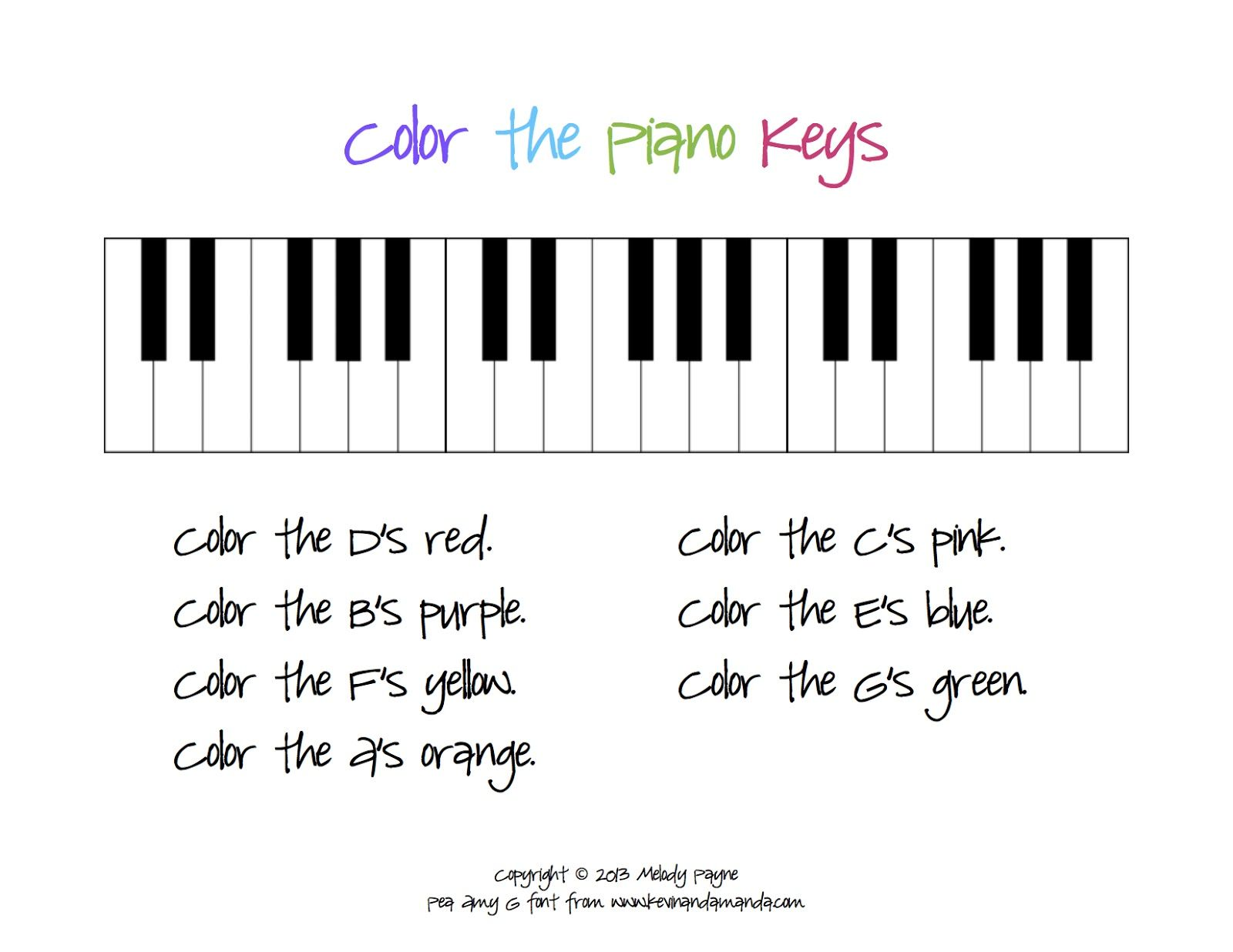 Color theory worksheet for kids - Color The Piano Keys Sheet