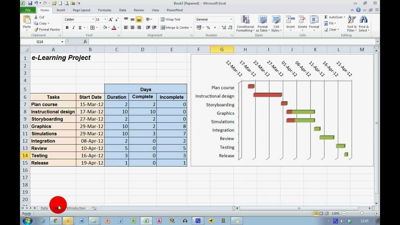 How to create a progress gantt chart in excel 2010 hc create a progress gantt chart in excel 2010 geenschuldenfo Gallery