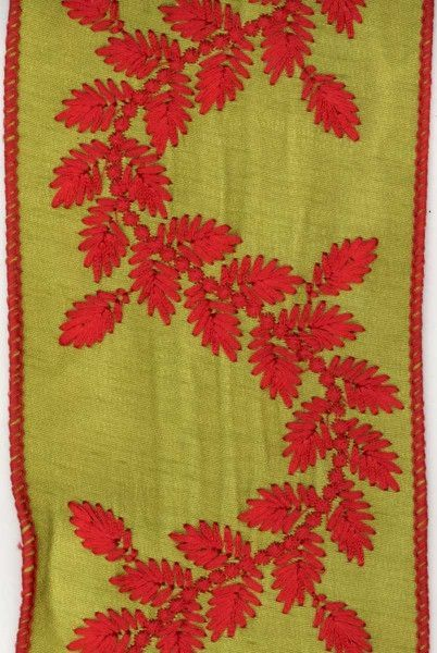 faux dupioni vine red embroidery, apple green