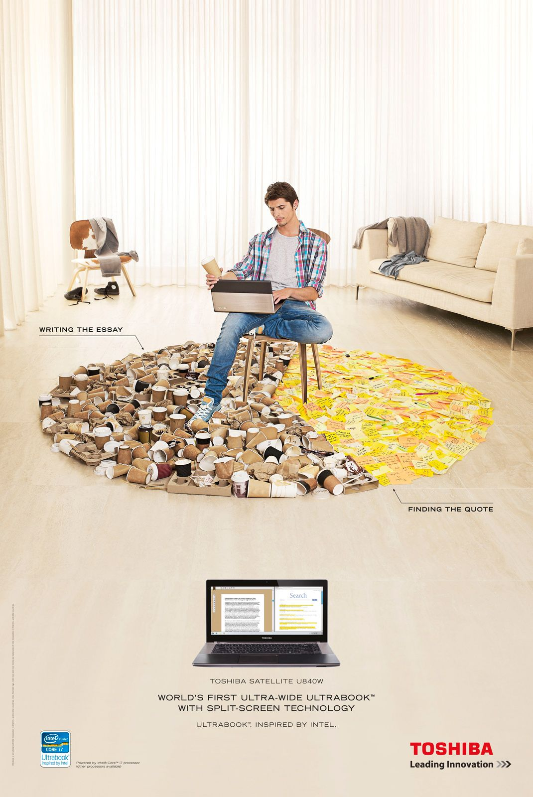 toshiba studying ads of the world ads studying world s first ultra wide ultrabook split screen technology advertising agency clemenger bbdo sydney executive creative director