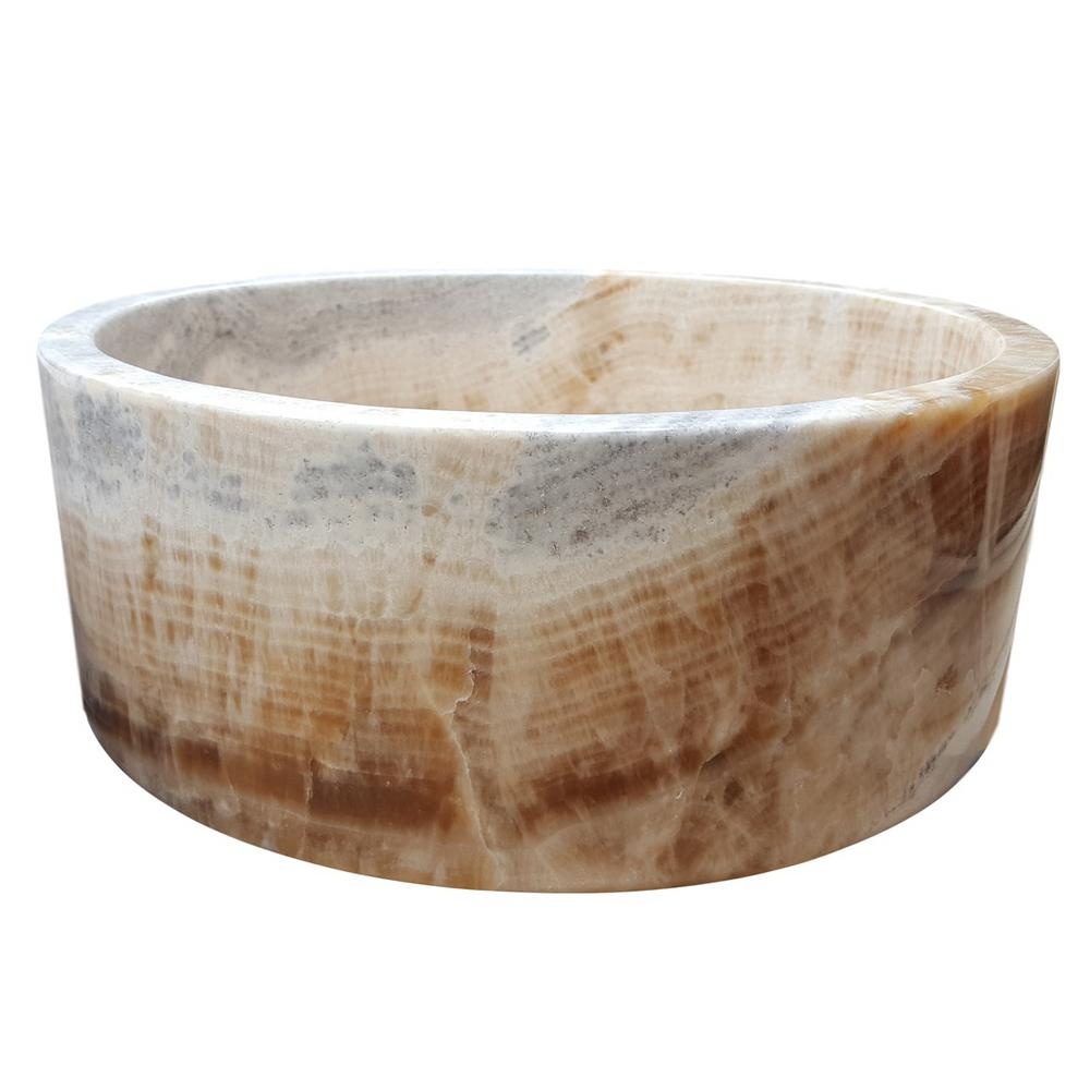 Cylindrical Natural Stone Vessel Sink In Beige Tm007 Lt Stone