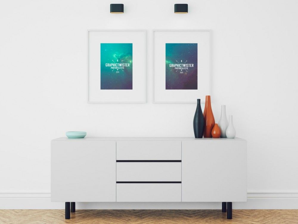 A Small Living Room Scene Showing Two Picture Frames Mockup PSD File With Smart Layers