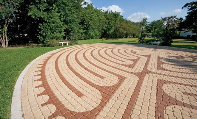 A Plaza Stone patio with an interesting design | For the Home ... on knockout rose garden designs, walking labyrinth designs, dog park designs, simple garden designs, stage garden designs, finger labyrinth designs, 6 path labyrinth designs, school garden designs, informal herb garden designs, greenhouse garden designs, labyrinth backyard designs, christian prayer labyrinth designs, meditation garden designs, spiral designs, rectangular prayer labyrinth designs, water garden designs, heart labyrinth designs, shade garden designs, new mexico garden designs, indoor labyrinth designs,