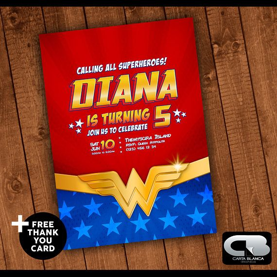 Wonder Woman Invitation with FREE Thank You Card Wonder Woman Invite Wonder Woman Birthday