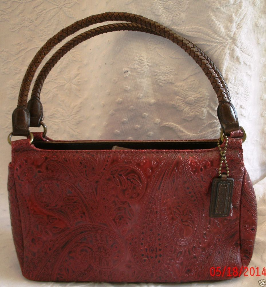 Relic Red Tooled Purse Handbag Paisley Brown Braided Handles Snap Close #Relic #Baguette