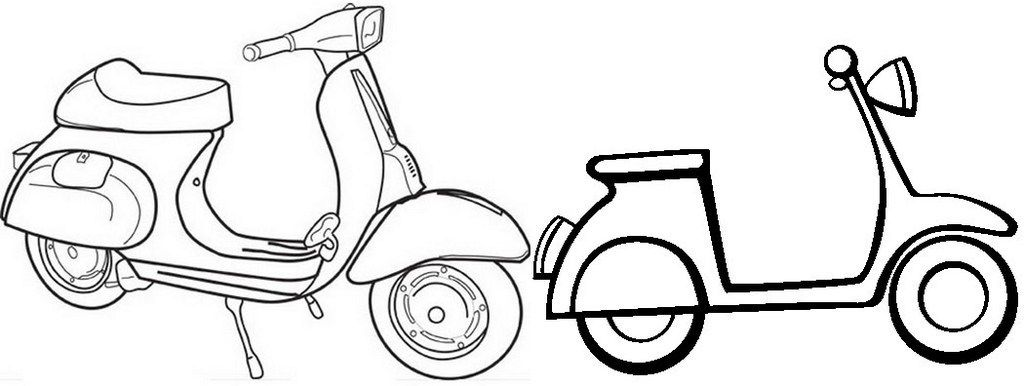 Two Vespa Scooter Coloring Page