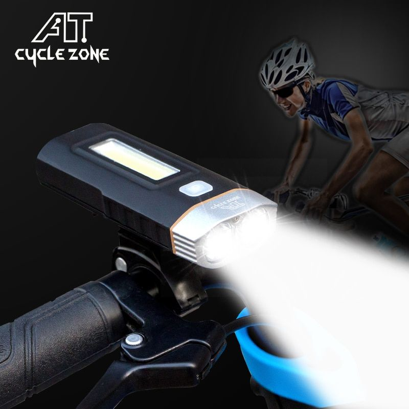 2 In 1 USB Rechargeable LED Bicycle MTB Bike Front Headlight Helmet Light Lamp