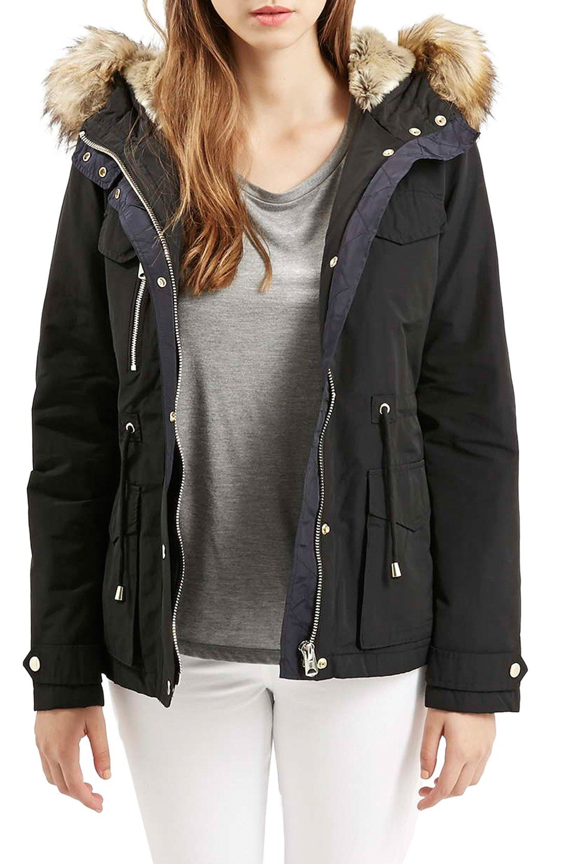 Topshop 'Jaxson' Short Hooded Parka with Faux Fur Trim | Wanted ...