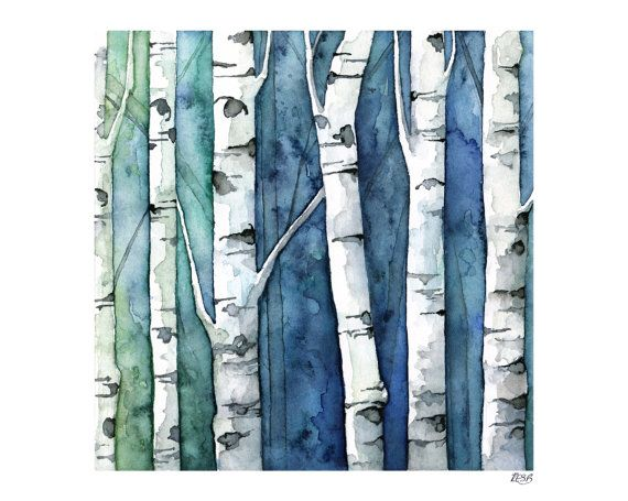 Watercolor Birch Trees Painting Print Titled Blue Birch Forest